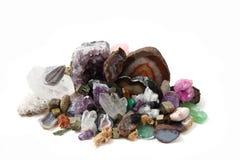 Samling av ädelstenar och mineraler Arkivbilder