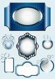 Samling av den blåa ramen med dekoren av spiral Arkivfoton