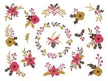 Samling av den blom- buketten för vinter Royaltyfri Foto
