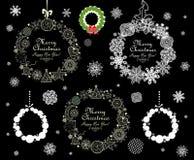 Samling av den dekorativa kransen för jul Fotografering för Bildbyråer