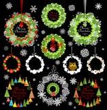 Samling av den dekorativa pappers- kransen för jul Arkivfoto