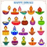 Samling av den dekorerade diyaen för lycklig Diwali ferie royaltyfri illustrationer