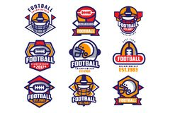 Samling av den färgrika logoen för amerikansk fotboll Etiketter med oval-formade rugbybollar och skyddande hjälmar sportar royaltyfri illustrationer