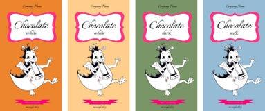 Samling av den förpackande designen för choklad med gulliga drakar Royaltyfri Bild