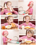 Samling av den gulliga lilla flickan för foto som har frukosten Fotografering för Bildbyråer