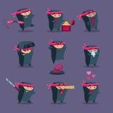 Samling av den gulliga tecknade filmen Ninja Royaltyfria Bilder