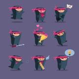 Samling av den gulliga tecknade filmen Ninja Arkivbilder