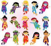 Samling av den olika gruppen av Superheroflickor