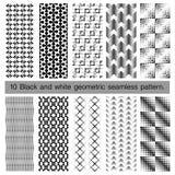 Samling av den svartvita geometriska sömlösa modellen Arkivbilder