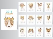Samling av designen för ståendehundkalender 2018 stock illustrationer