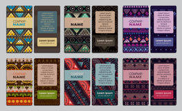 Samling av det färgrika dekorativa affärskortet Royaltyfri Fotografi
