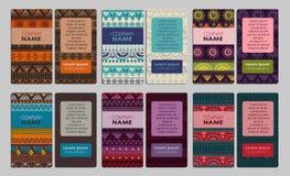 Samling av det färgrika dekorativa affärskortet Royaltyfria Bilder