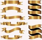 Samling av det guld- metallbanret Fotografering för Bildbyråer