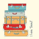 Samling av det retro begreppet för resväskaförälskelselopp Fotografering för Bildbyråer