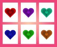 Samling av det rosa, röda, gröna vita kulöra valentin dagkortet vektor illustrationer