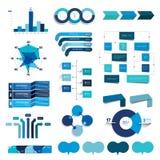 Samling av diagram, grafer, flödesdiagram Infographics i blåttfärg Royaltyfri Foto