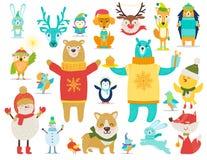 Samling av djur, snögubbevektorillustration stock illustrationer