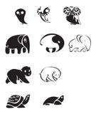 Samling av djura emblem Arkivbild