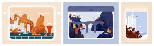 Samling av drev-, flygplan- eller skeppfönstersikter på härliga städer, stads- landskap Runt om världen tur, lopp stock illustrationer