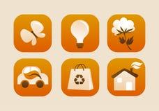 Samling av ekologiska symboler Arkivbilder
