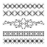 Samling av eleganta och för tappning Calligraphic garneringar Arkivfoto