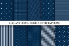 Samling av eleganta vektormodeller - sömlösa prickiga och randiga bakgrunder vektor illustrationer