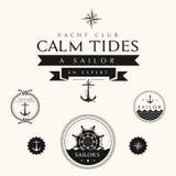 Samling av emblem och etiketter för tappning nautiska Royaltyfri Foto