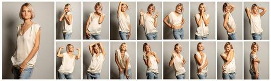 Samling av emotionella stående fotografering för bildbyråer