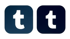 Samling av en gammal Tumblr logo och en ny Tumblr symbol royaltyfri illustrationer