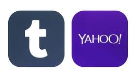 Samling av en nya Tumblr och Yahoo logoer Royaltyfria Bilder