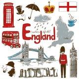 Samling av England symboler Royaltyfria Foton