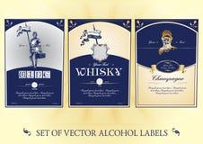 Samling av etiketter för alkohol Arkivfoto