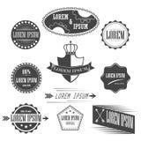 Samling av etiketter med retro tappning utformad design Royaltyfria Bilder