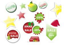Samling av etiketter och etiketten för julvektorförsäljning Royaltyfria Foton