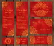 Samling av etniska kort, meny eller bröllopinbjudningar med den indiska prydnaden Royaltyfri Fotografi
