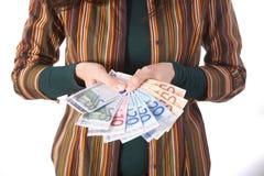 Samling av euroräkningar Fotografering för Bildbyråer