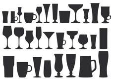 Samling av exponeringsglas för drinkar disk också vektor för coreldrawillustration vektor illustrationer