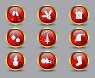 Samling av exponeringsglas och guld- julknappar och symboler vektor illustrationer