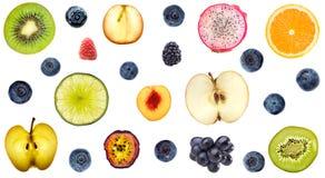 Samling av färgrik bakgrund för nya frukter Fotografering för Bildbyråer