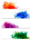Samling av färgrika abstrakt vattenfärgbaner Arkivbilder