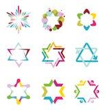 Samling av färgrika abstrakta stjärnasymboler Royaltyfri Bild
