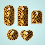 Samling av färgrika etiketter med den djura modellen som imiterar tigern royaltyfri illustrationer