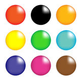 Samling av färgrika glansiga spheres som isoleras på   Arkivfoton
