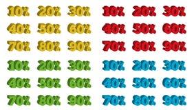 Samling av 4 färgrika isolerade uppsättningar av etiketter för procentsats 3D Royaltyfri Foto