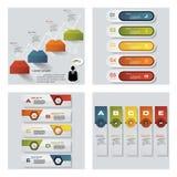 Samling av 4 färgrika presentationsmallar för design Det kan vara nödvändigt för kapacitet av designarbete Arkivbilder