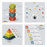 Samling av 4 färgrika presentationsmallar för design Det kan vara nödvändigt för kapacitet av designarbete Royaltyfria Bilder