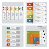 Samling av 4 färgrika presentationsmallar för design Det kan vara nödvändigt för kapacitet av designarbete Arkivfoto