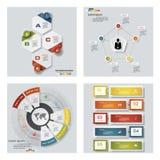 Samling av 4 färgrika presentationsmallar för design Det kan vara nödvändigt för kapacitet av designarbete Royaltyfri Bild