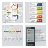 Samling av 4 färgrika presentationsmallar för design Det kan vara nödvändigt för kapacitet av designarbete Arkivfoton