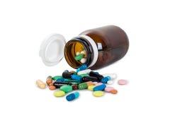Samling av färgrika preventivpillerar Arkivfoto